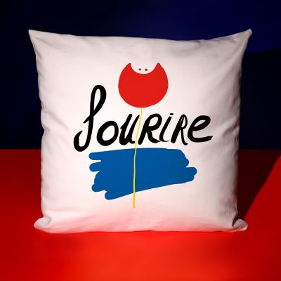 """Coussin """"Sourire rouge"""""""