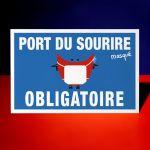 """Plaque """"Port du sourire (masqué) obligatoire"""""""