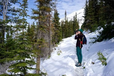 Photography on a snowy mountain