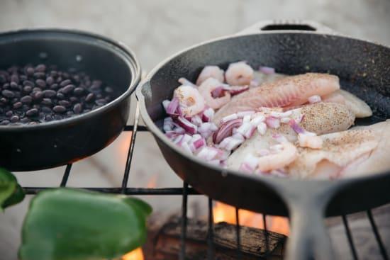 Camp fire fish dinner recipe