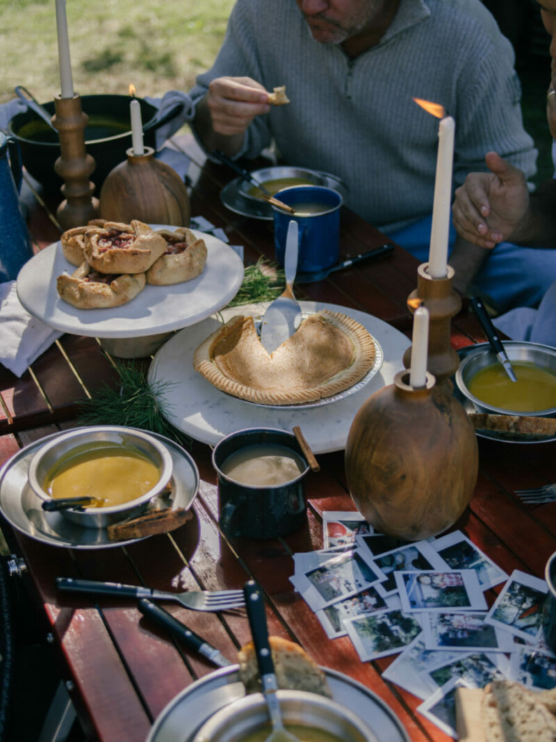 thanksgiving feast including pie, soup and polariods