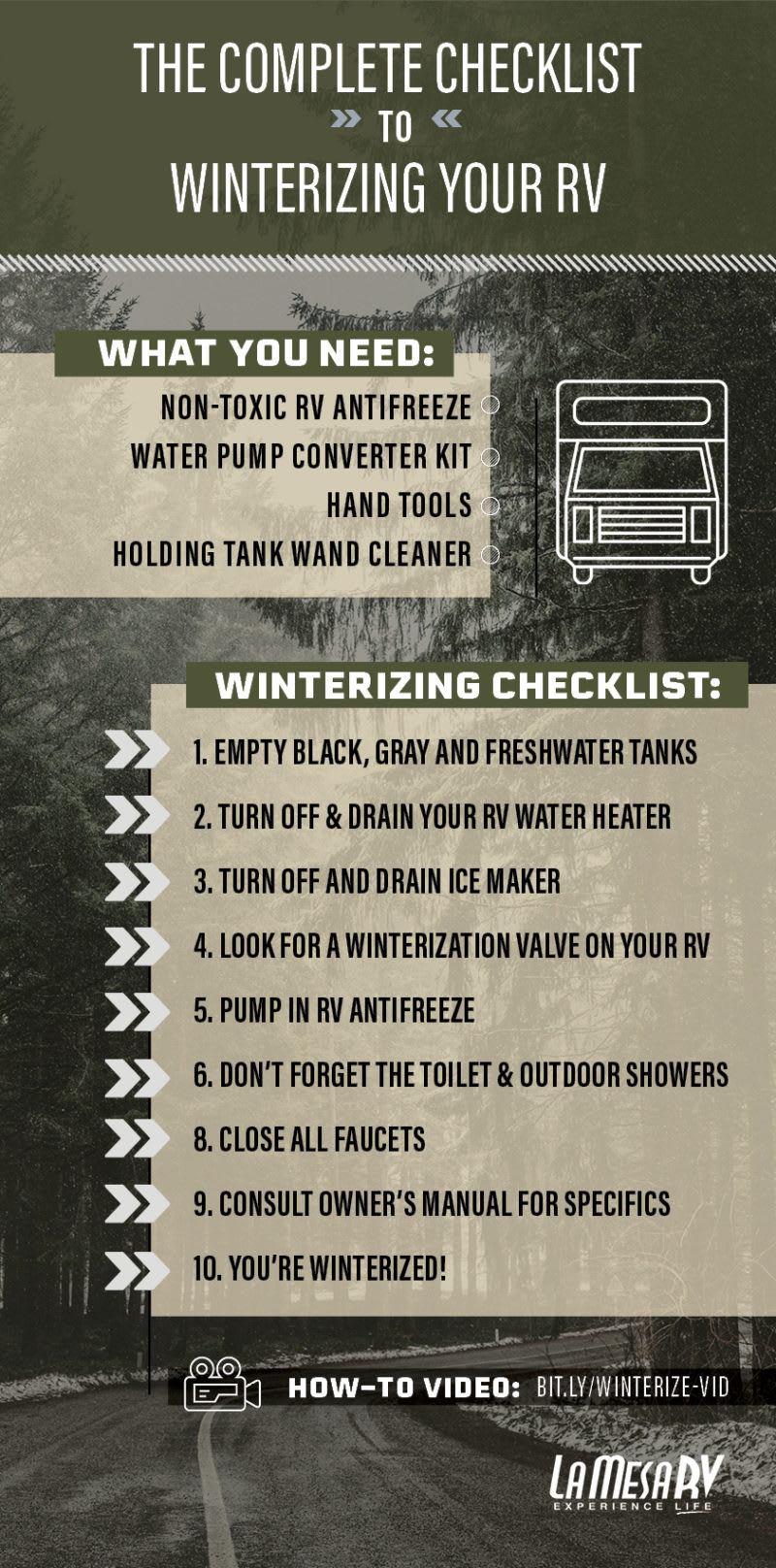 checklist for winterizing your RV