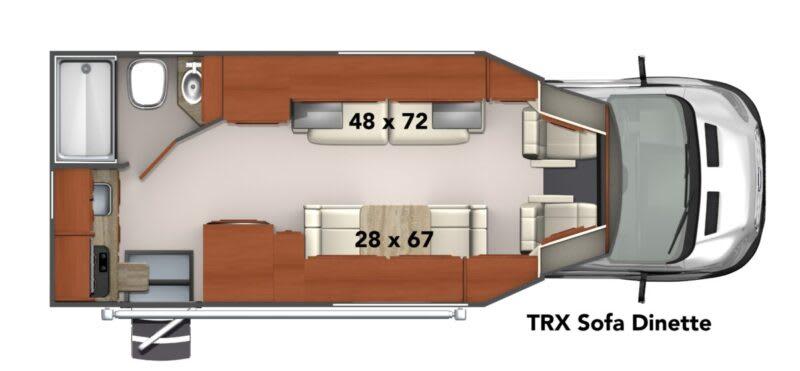 TRX Sofa Dinette class b motorhome