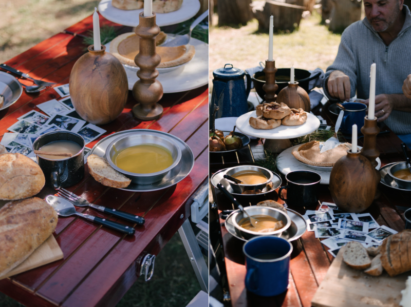 dress up your thanksgiving table with polariod film from your travels