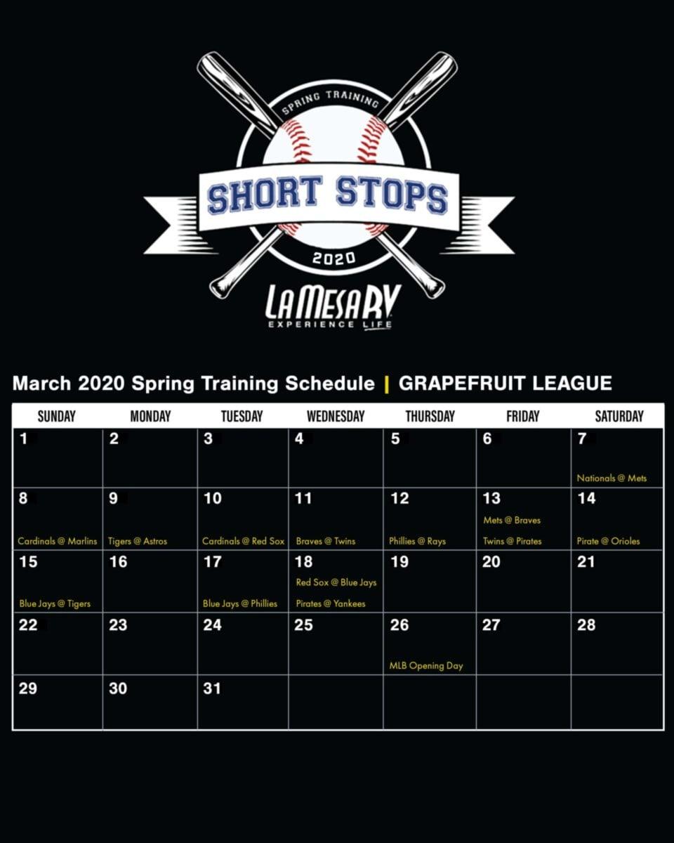 Spring Training Grapefruit League Schedule