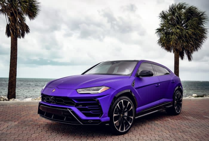 Featured Product: 2021 Lamborghini Urus  Purple For Rent In Miami Fort Lauderdale Palm Beach South Florida