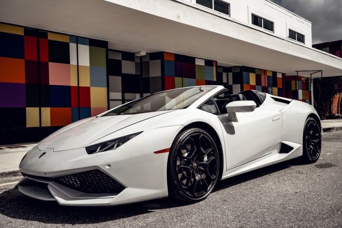 Image #0 of our 2018 Lamborghini Huracan Spyder (Convertible) (White) In Miami Fort Lauderdale Palm Beach South Florida