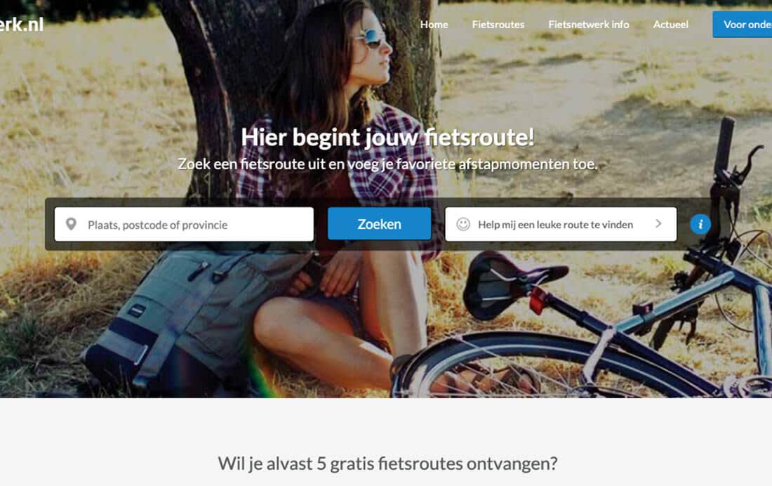 Gebruik de zoek- of suggestieknop op Fietsnetwerk.nl