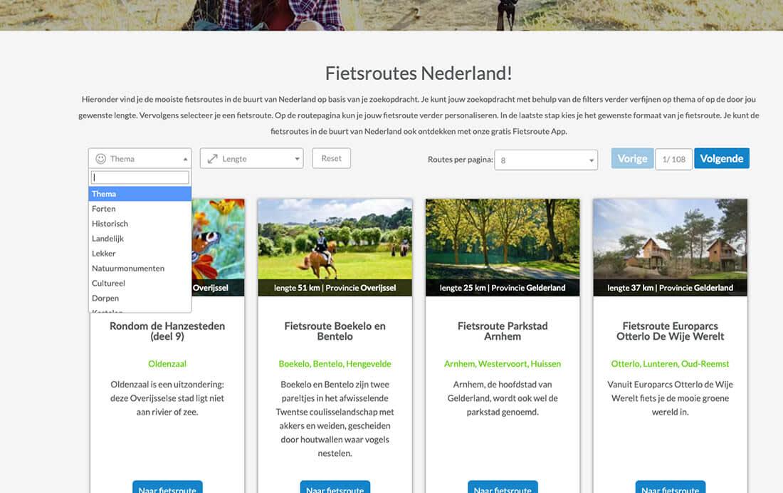 Zoekresultaten fietsroutes Nederland & filteren op thema