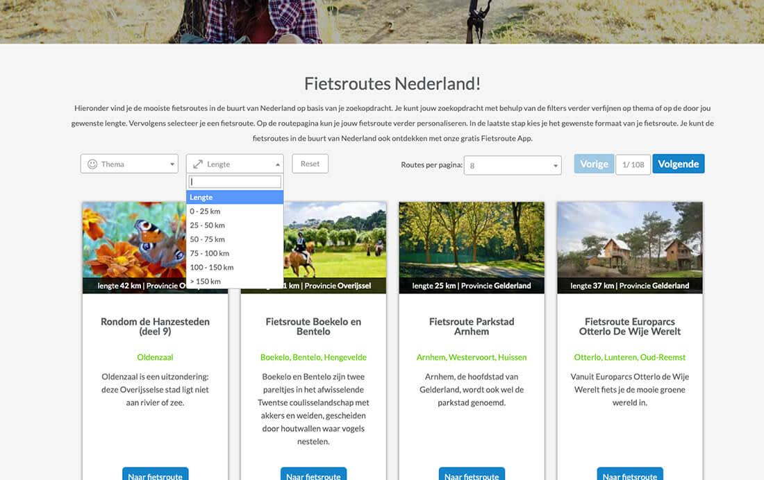 Jouw fietsroute in Nederland selecteren op lengte