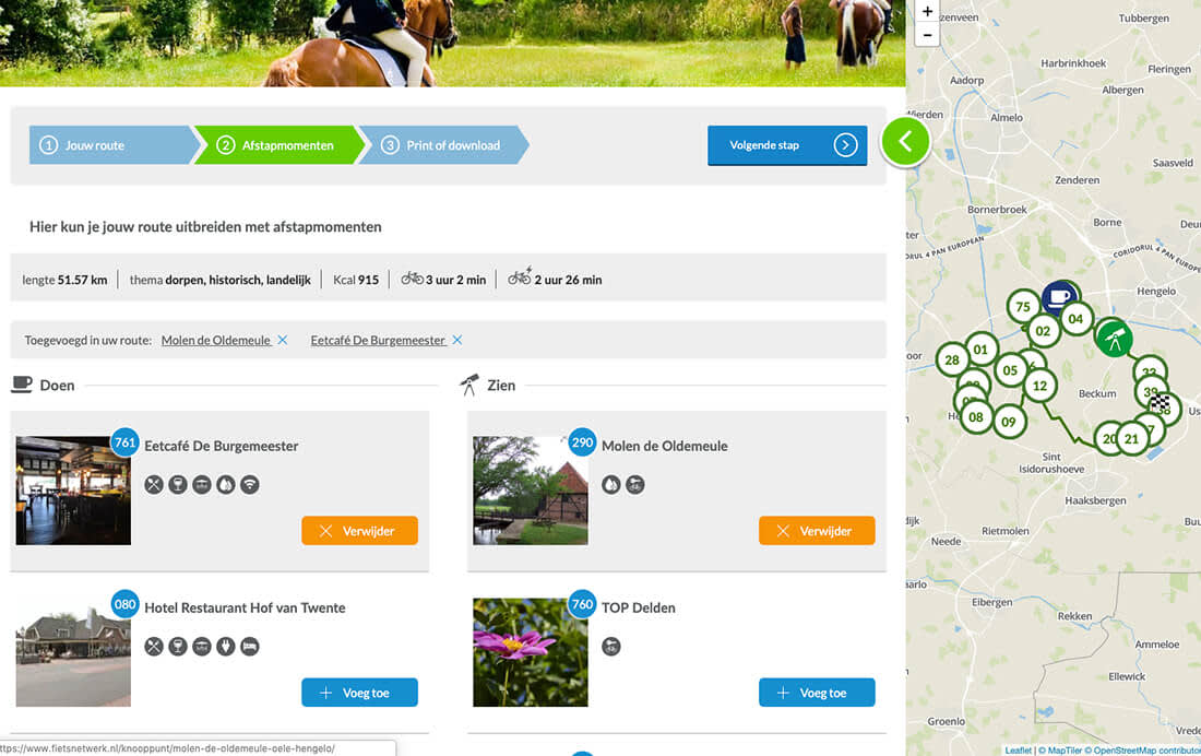 Selecteer afstapmomenten voor fietsroute Nederland