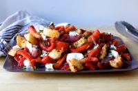 grilled pepper and torn mozzarella panzanella