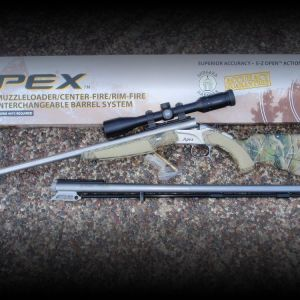 30.06 CVA APEX single shot, Bergara barrel includes .50cal Bergara BLK Powder interchangeable barrel.