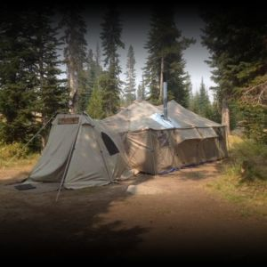 12x20 Tent with 2 Vestibules, Tent stove, wood burning or Pellet.