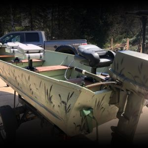 16ft aluminum boat, trailer and motor