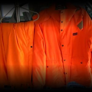 Blaze orange hunting suit
