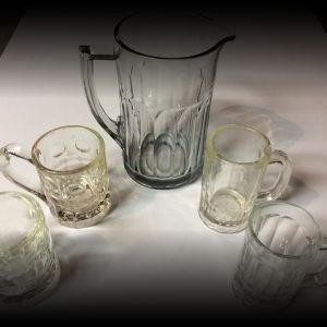 Old Glass Pitcher & Mugs