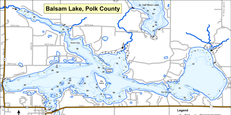 Fish Balsam Lake - Polk County, Wisconsin on map of lake winnebago, map of lake michigan, map of shawano lake, map of lake joseph, map of utah lake, map of lake superior, map of lake minocqua, map of woman lake, map of lake pend oreille,