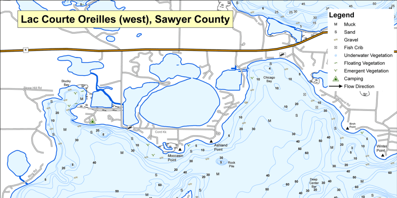 Fish Lac Courte Oreilles - Sawyer County, Wisconsin Sawyer County Lco Reservation Road Maps on
