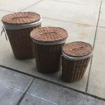 Wicker laundry baskets