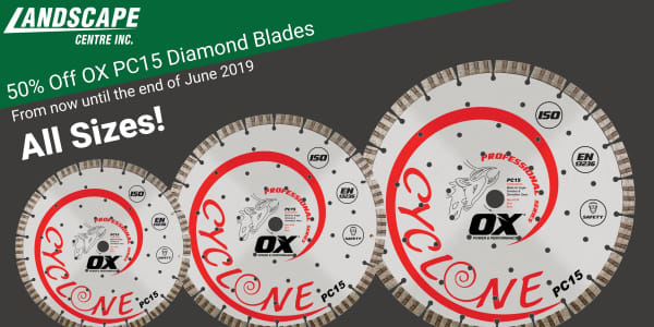 50% of all sizes of OX PC15 Diamond Blades