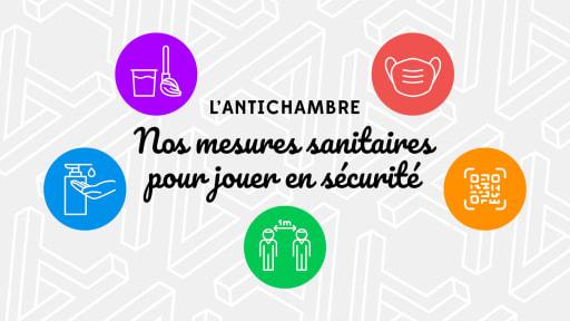 5 pictogrammes représentant les mesures sanitaires (masque, distanciation, nettoyage, lavage de main...) et entourant le texte : Nos mesures sanitaires pour jouer en sécurité