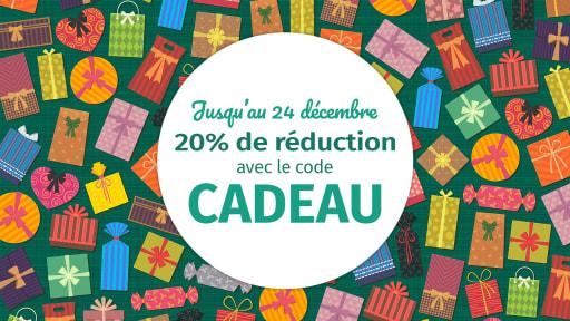 Des dizaines de paquets cadeaux de toutes les couleurs avec le texte : Jusqu'au 24 décembre, 20% de réduction avec le code CADEAU