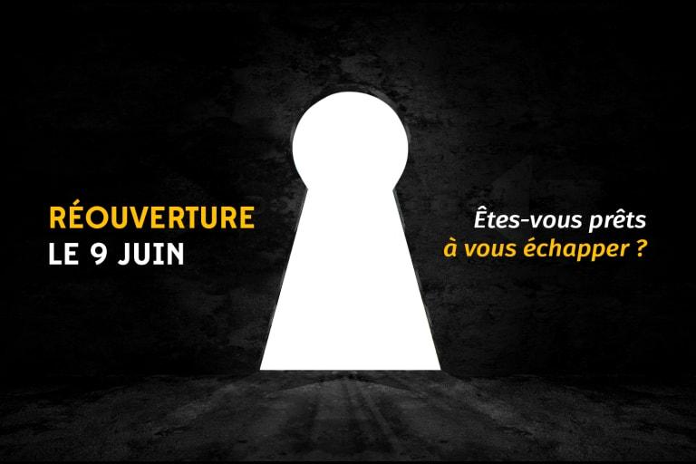 Trou de serrure mystérieux avec le texte : Réouverture le 9 juin, êtes-vous prêts à vous échapper ?