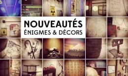 Mosaïque de photos des nouveautés dans les escape games de L'Antichambre avec le texte : Nouveautés énigmes et décors