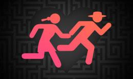 Dessin d'un couple en train de courir pour s'échapper sur un fond en forme de coeur avec un motif de labyrinthe