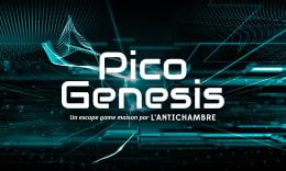 Arrière-plan composé de traits, points et formes géométriques lumineuses évoquant une technologie avancée d'informatique ou d'intelligence articielle avec le titre : Pico Genesis, un escape game maison par L'Antichambre