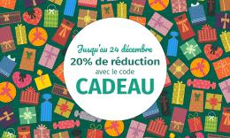Des dizaines de paquets cadeaux de toutes les couleurs avec le texte : Jusqu'au 3 janvier, 20% de réduction avec le code CADEAU