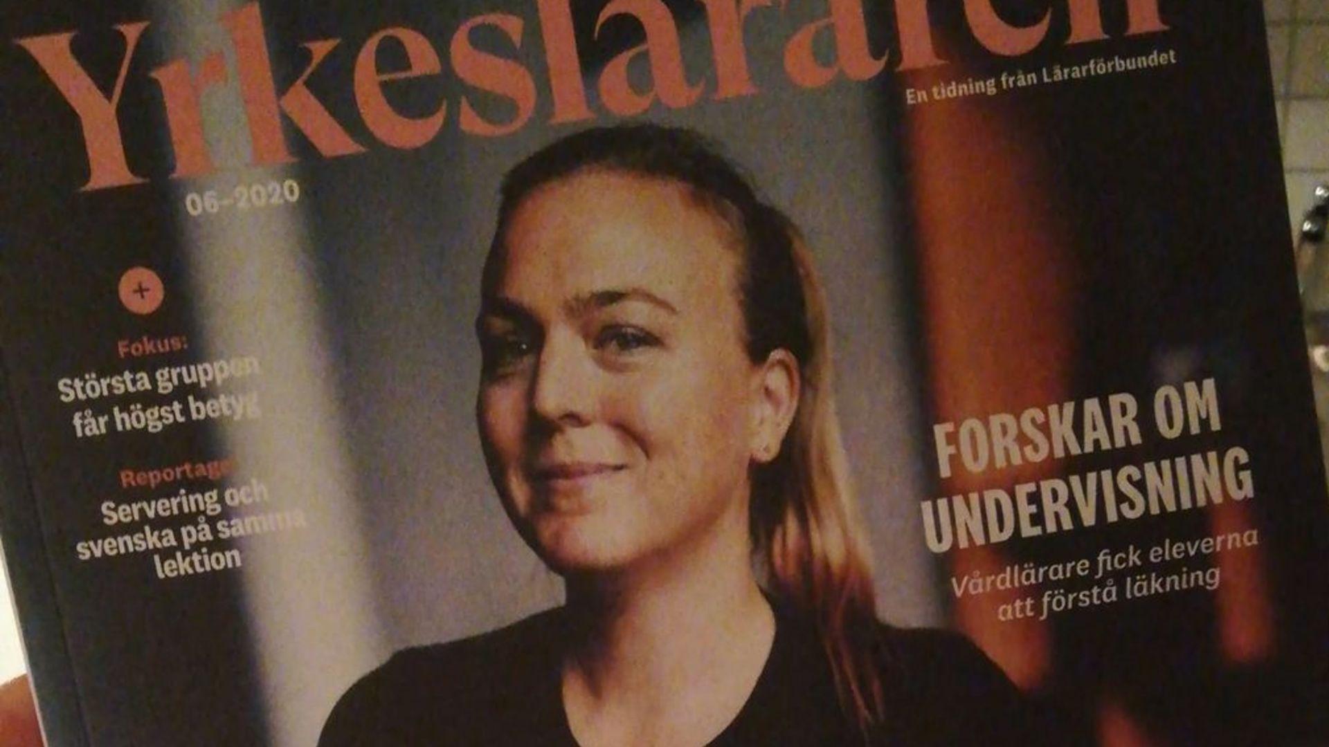 """Kajsa på omslaget av Lärarförbundets magasin """"Yrkesläraren"""" och nu även exempellärare för framgångsrikt digitalt lärande."""