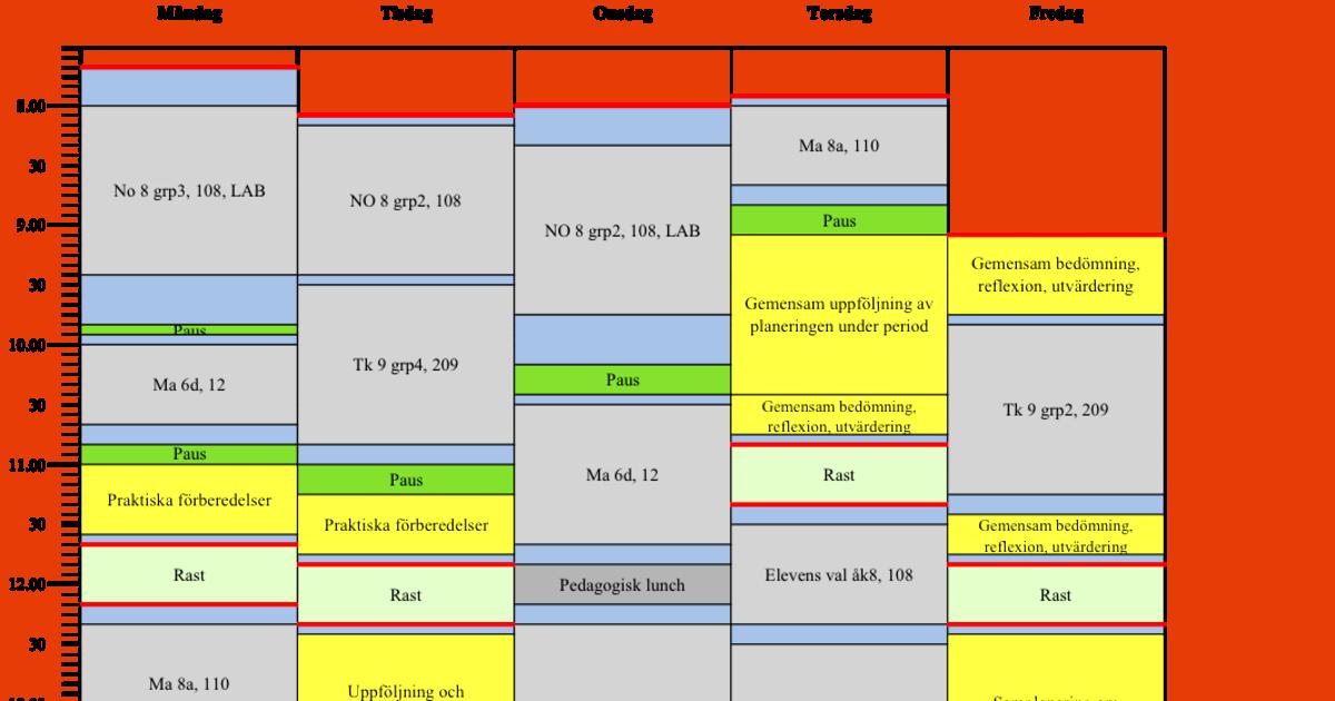 Personligt schema Lärarförbundet Gnesta