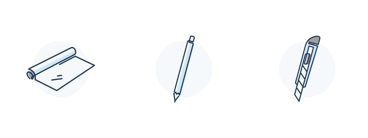 LARQ livelarq.com icons for aluminum foil, pen, and box cutter