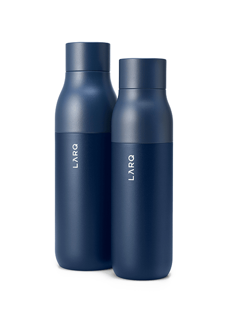 Photo of LARQ Bottle PureVis regular and large size in Monaco Blue color