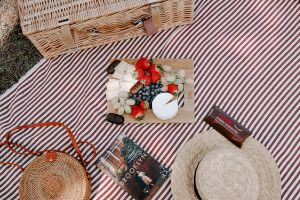 picnic image with fruit and cheese board