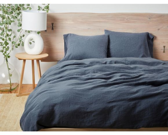 Coyuchi Organic Linen Sheet Set in Moonlight Blue