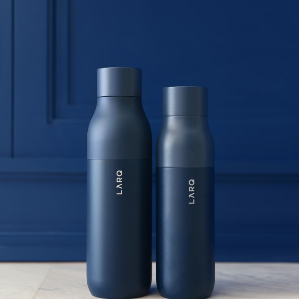 Photo of LARQ Bottle PureVis - Monaco Blue large and regular size bottle