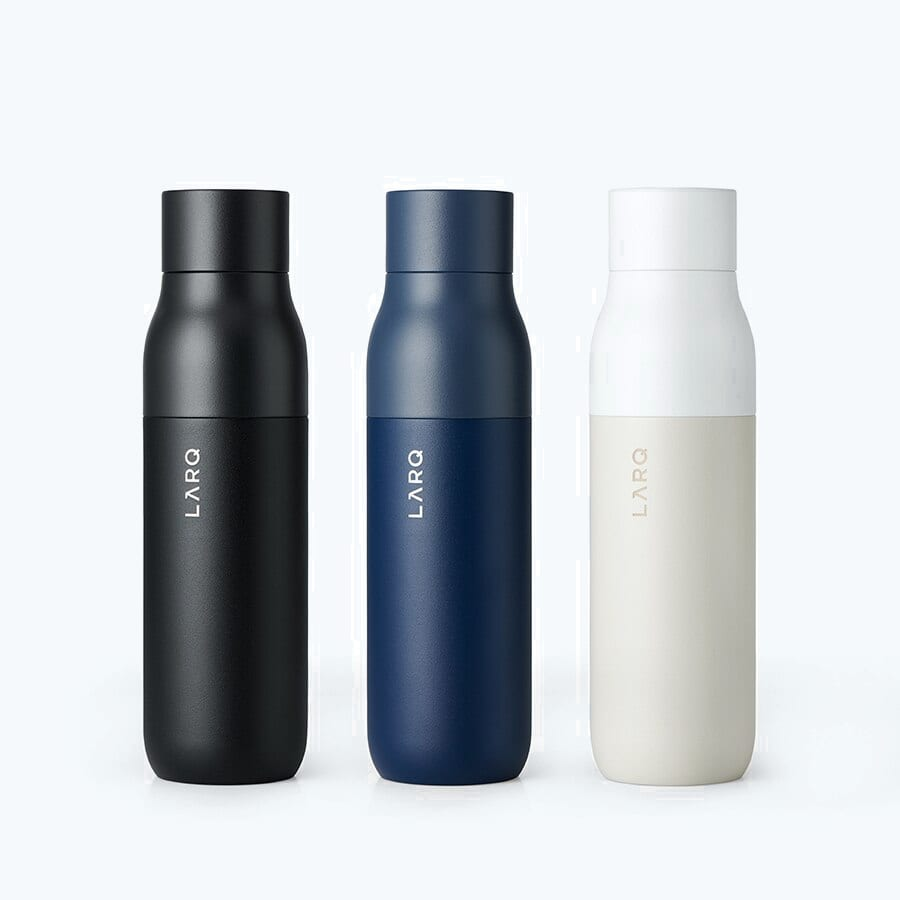 3 LARQ Bottles PureVis in colors Obsidian Black,Monaco Blue and Granite White in size 17oz/500ml