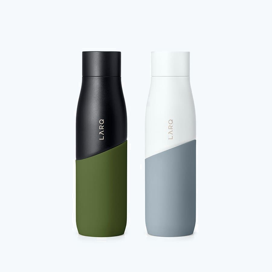 Two LARQ Bottles Movement PureVis in colors White / Pebble and  Black / Pine in size of 24oz/710ml