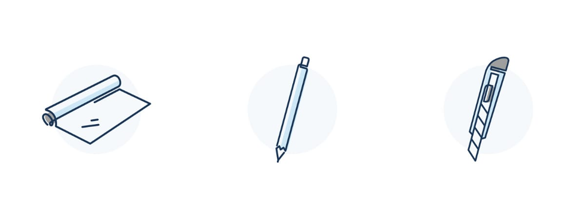LARQ livelarq.com icons for aluminum foil, pen, and box cutter