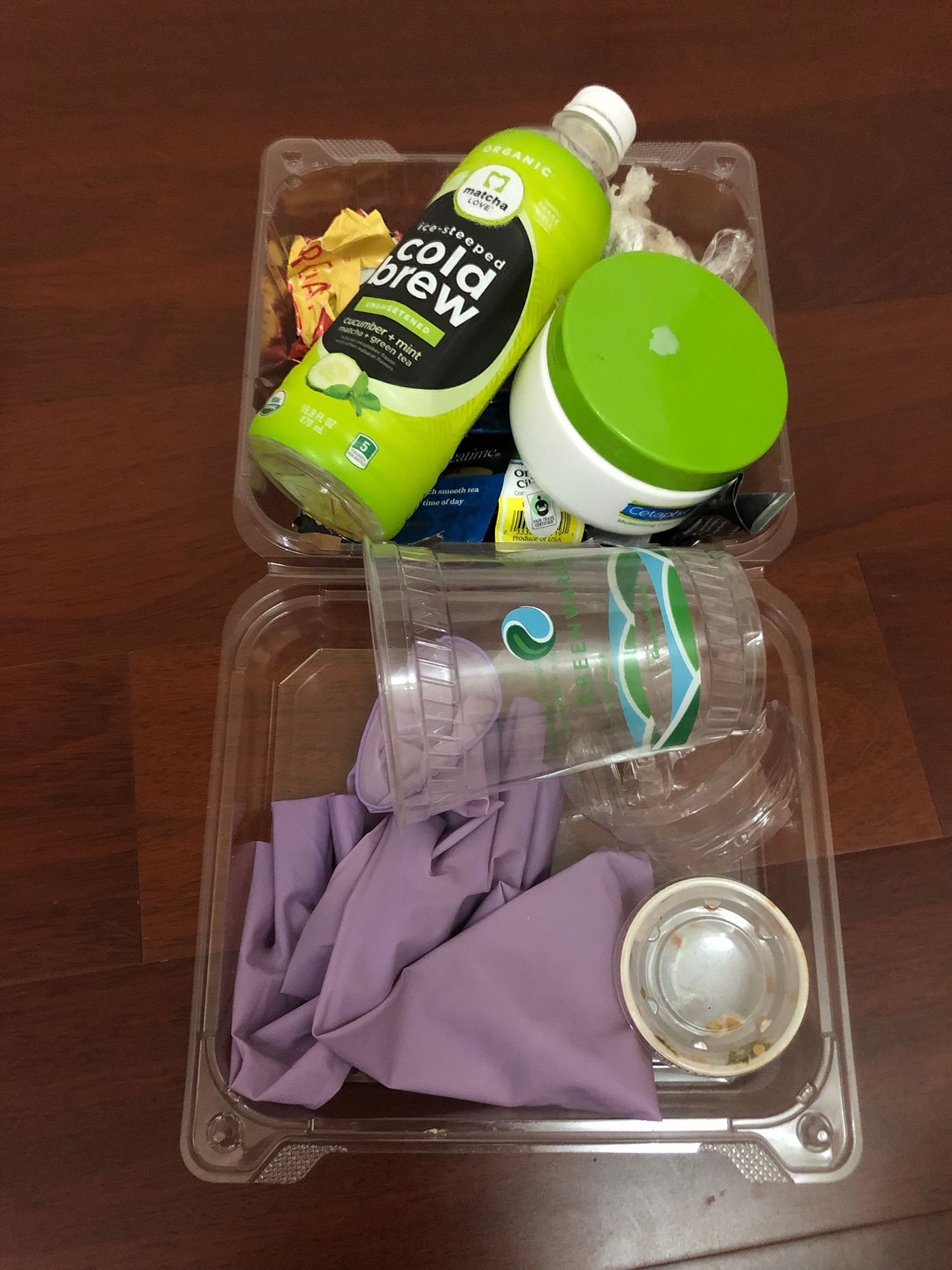 Plastic waste - plastic bottle, plastic cup