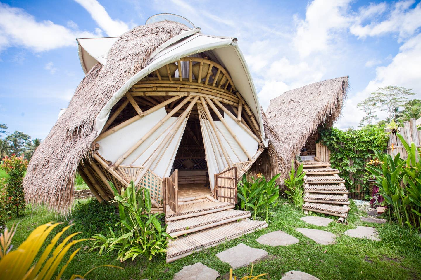 Eco-friendly sustainable bamboo dome bungalow in Bali, Indonesia