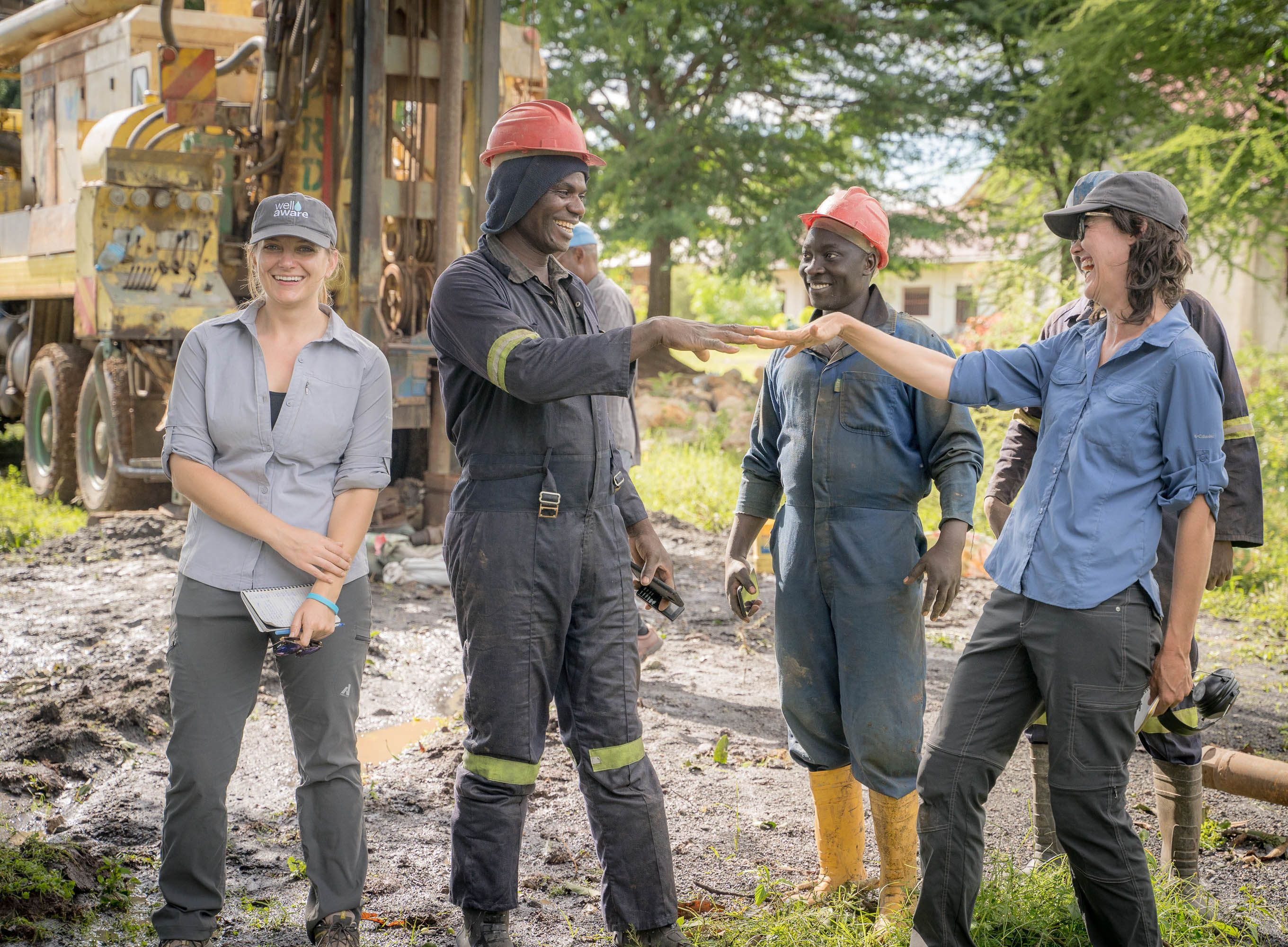 Well Aware team at drill site in New Hope, Tanzania 2019
