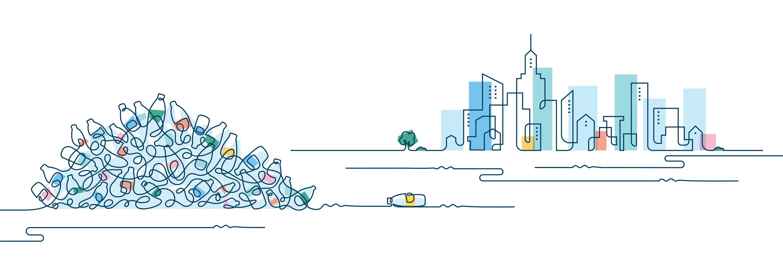 LARQ plastic bottle pile next to city