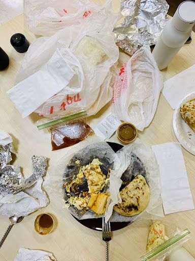 take out food from pupuseria and plastic and styrofoam waste