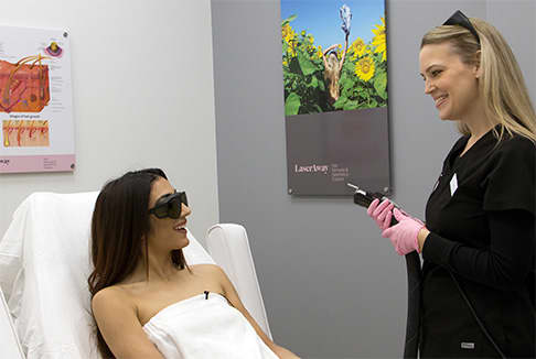 Woman about to receive laser haire removal procedure in Scottsdale