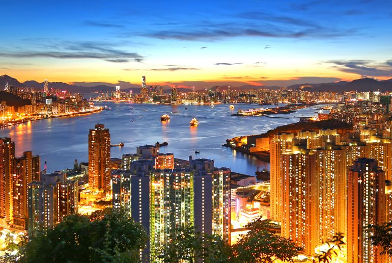 Skyline von Hongkong bei Nacht