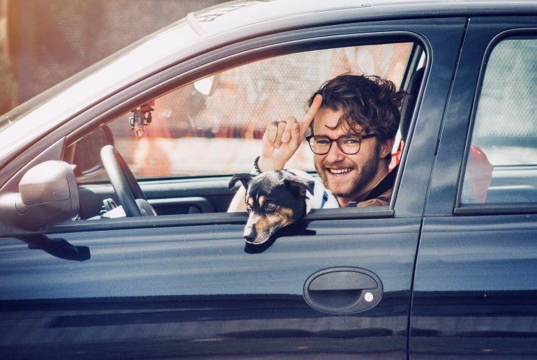Man im Auto mit Hund